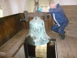 Andrew Bicknell lowering second bell